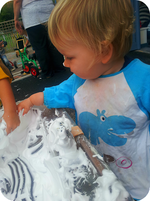 messy play with shaving foam, 13 month old and messy play