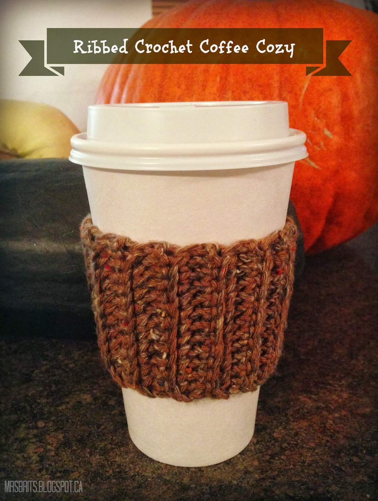 MrsBrits: Ribbed Coffee Cozy {Crochet Pattern}