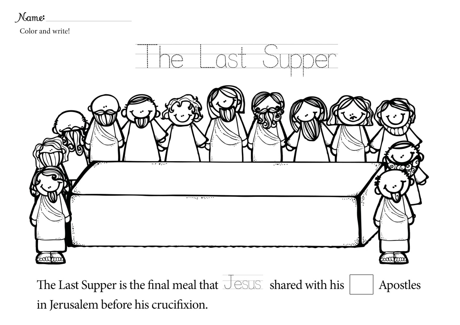Free Lent Last Supper Coloring Pages