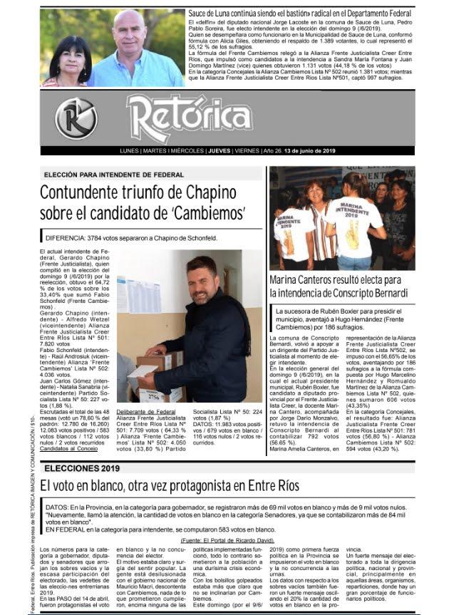 RETÓRICA EDICIÓN IMPRESA DEL 14-6-2019