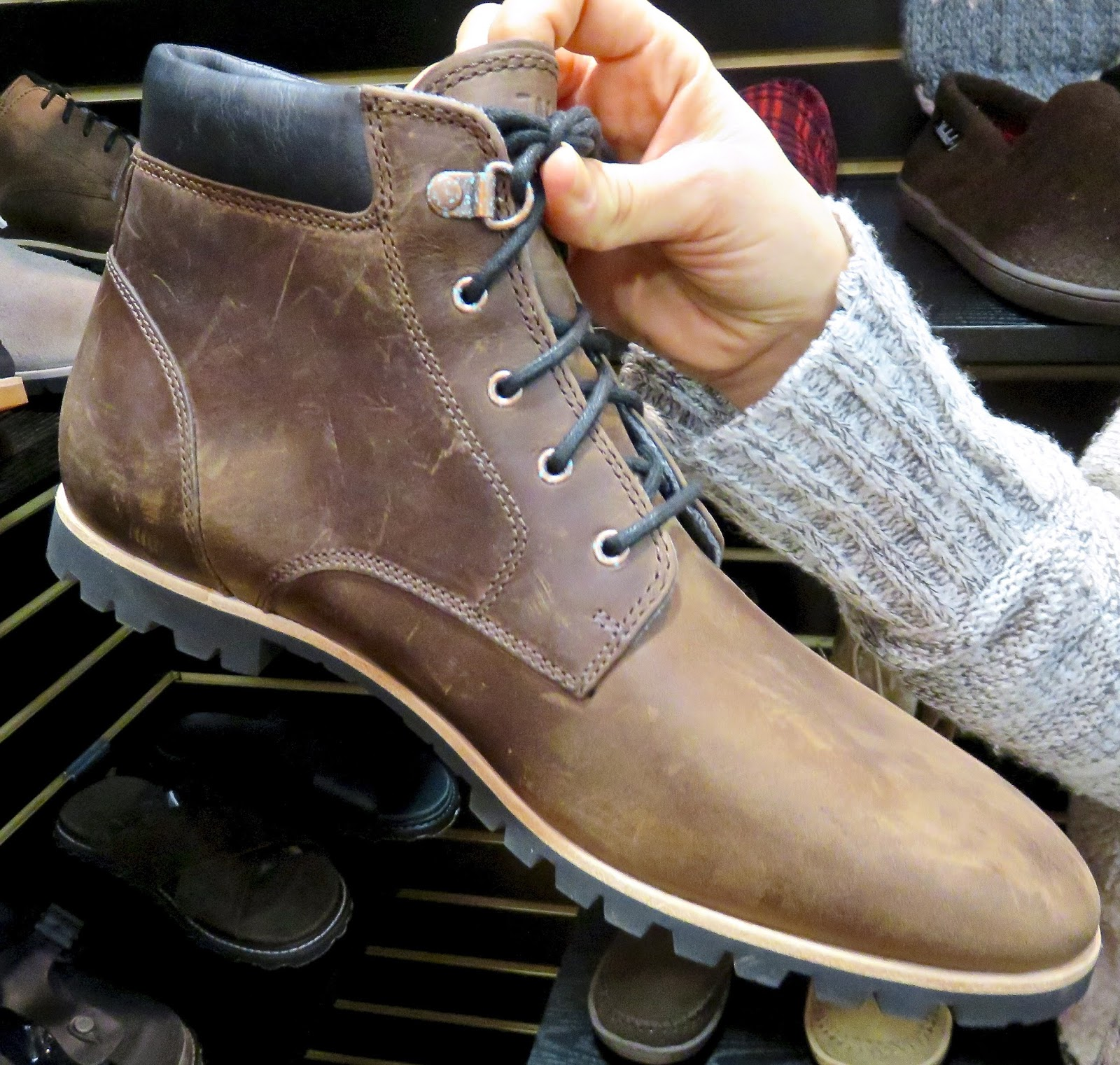 men's boots are bug for Spring 2016...BEEBE in Bitter Chocolate Leather  $180 full grain leather upper, wool lining, comfort footbed, Vibram outsole  $180