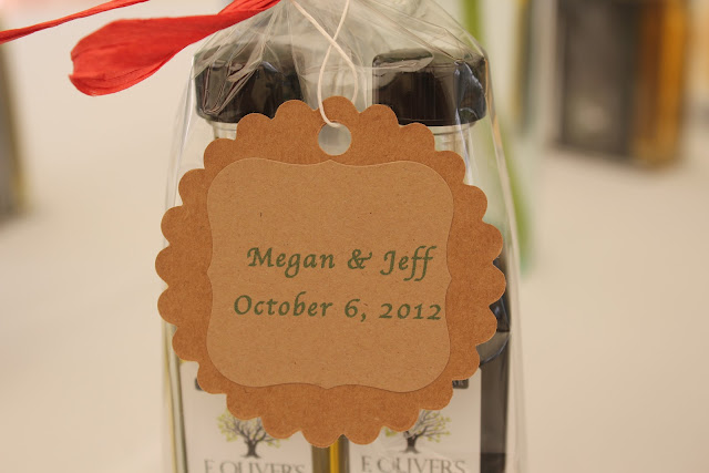 Mini olive oil favors for Italian-themed bridal shower