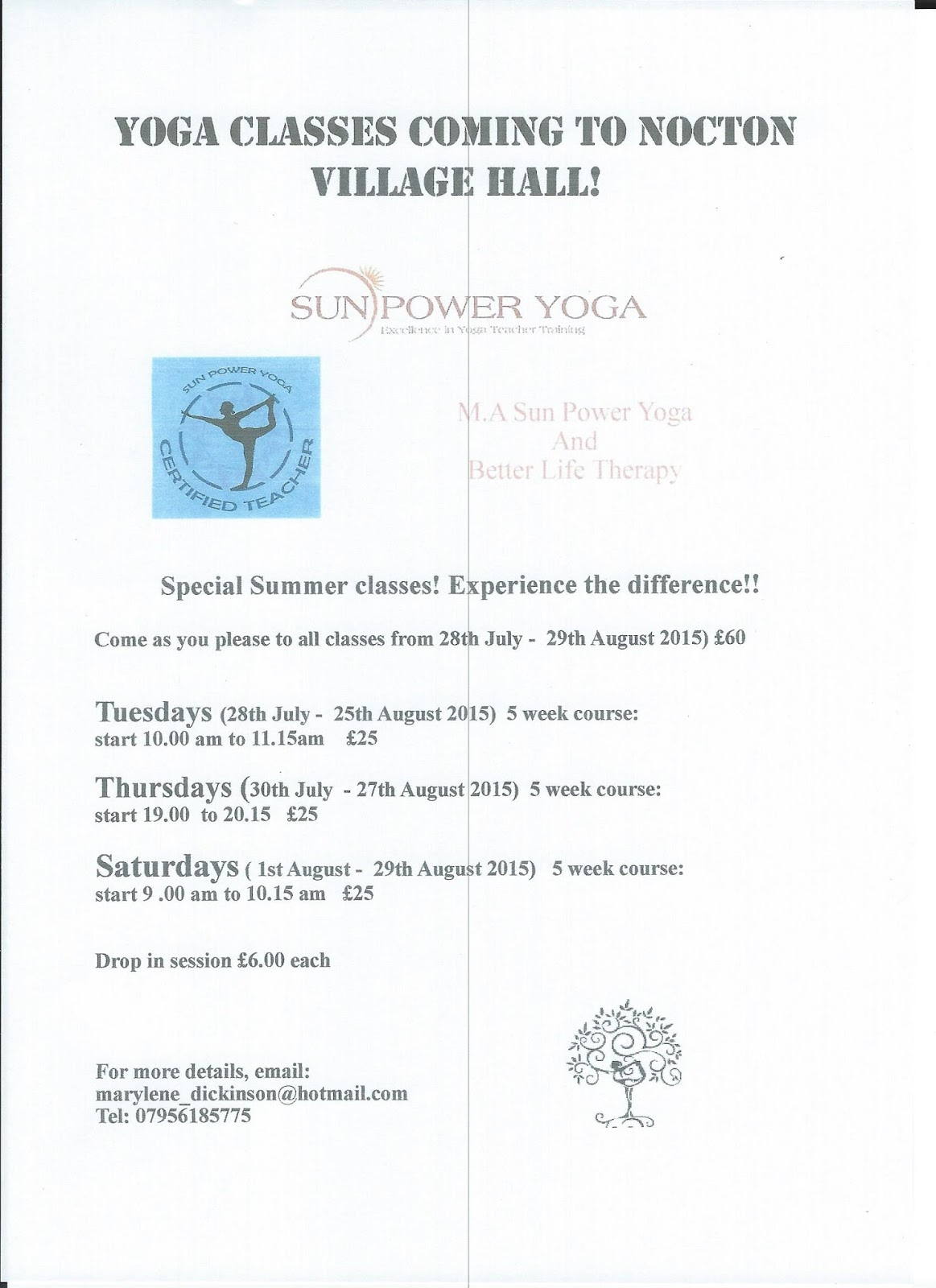 Nocton in Lincolnshire: Yoga at Nocton Village Hall