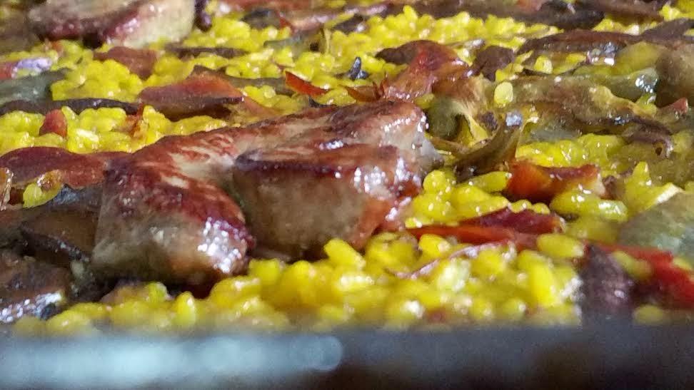 arroz con pato, alcachofas y foie