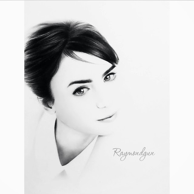 11-Lily-J-Collins-Raymond-Gunawan-Minimalist-Celebrity-Drawings-mostly-Black-and-White-www-designstack-co