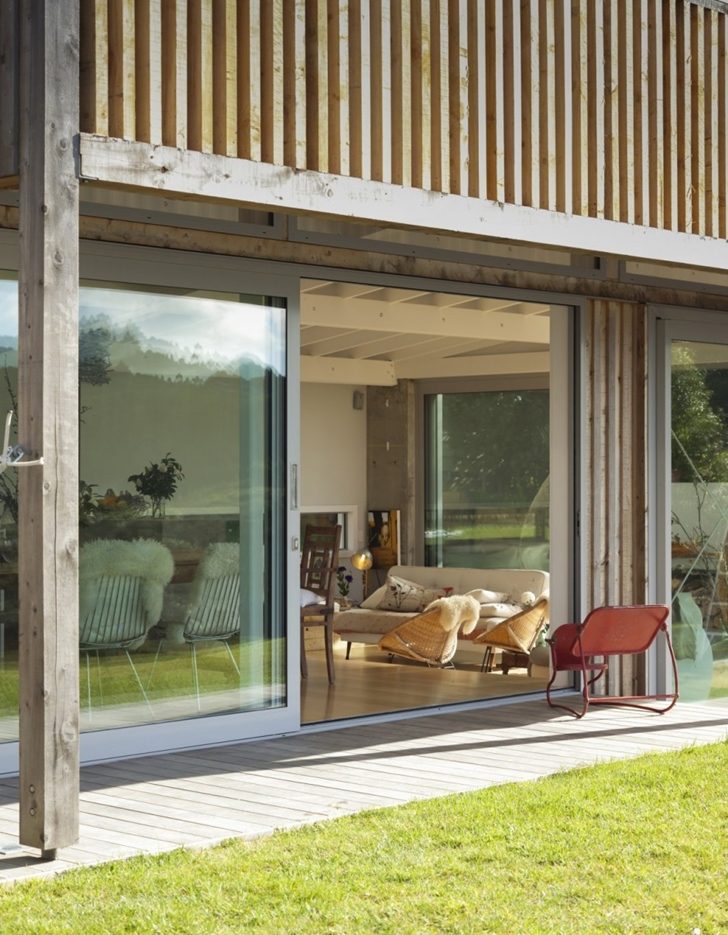 Sliding doors on Wooden house in New Zealand