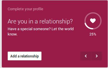 relationship status on google+ profile