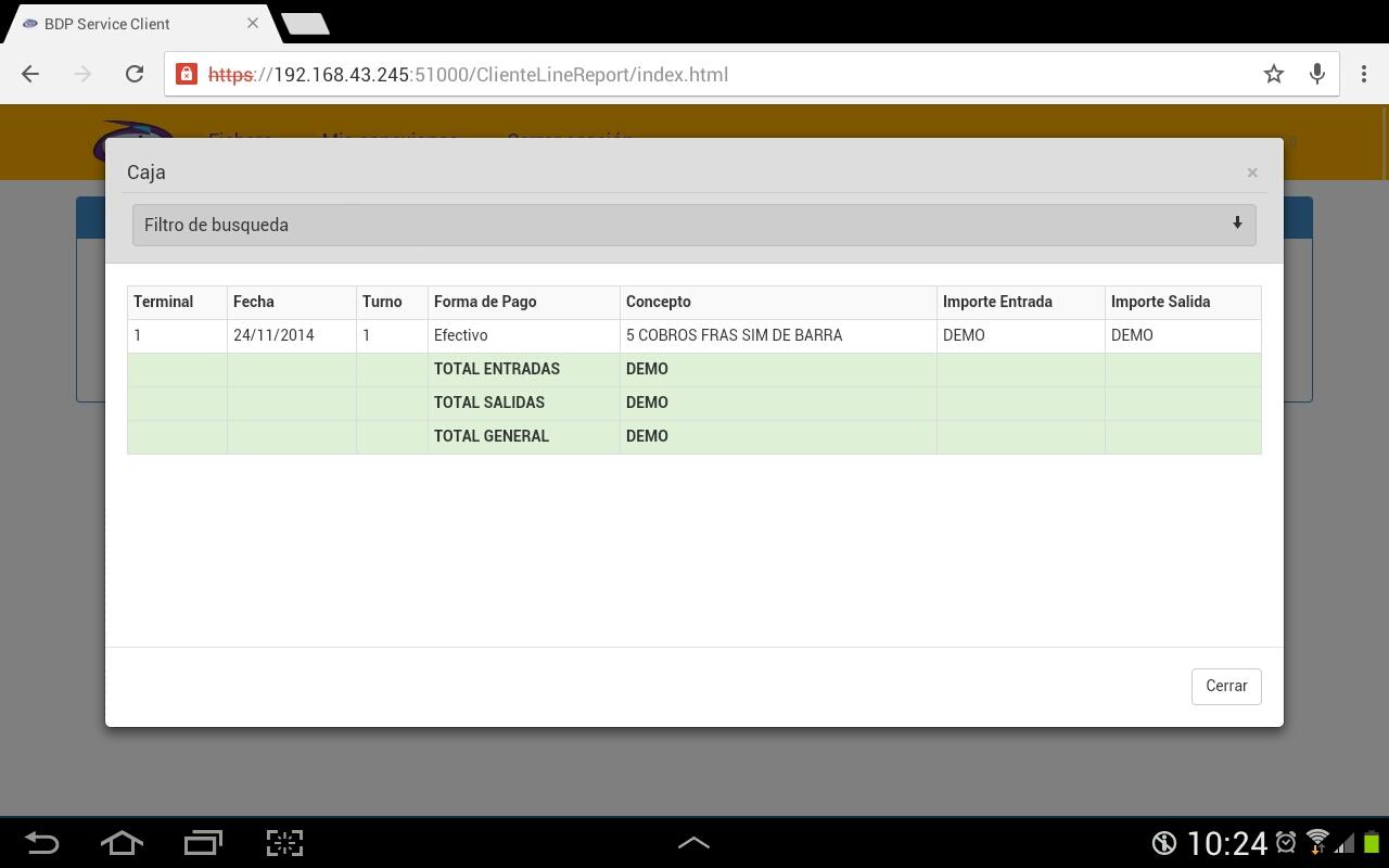 Tablet para ver informe de tpv Bdp