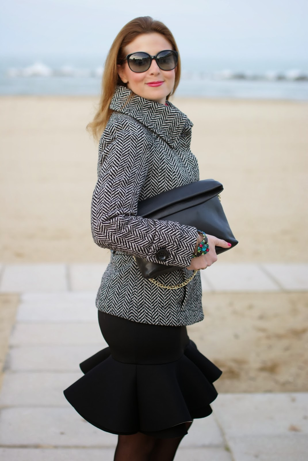 Asos peplum hem skirt, Zara twill jacket, Zara clutch, Fashion and Cookies, fashion blogger