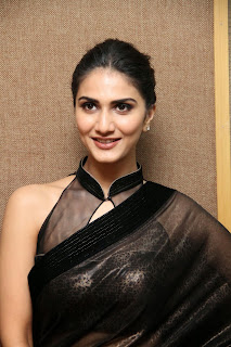 vaani kapoor new  stills in black saree(3)