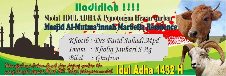 Ikutilah Bersama Sama Shalat Idul Adha H Di Masjid Al Mutmainnah Perumahan Marbella Residence Batam Kota