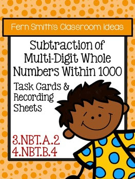 Subtraction of Multi-Digit Whole Numbers Within 1000 Task Cards & Answer Sheet