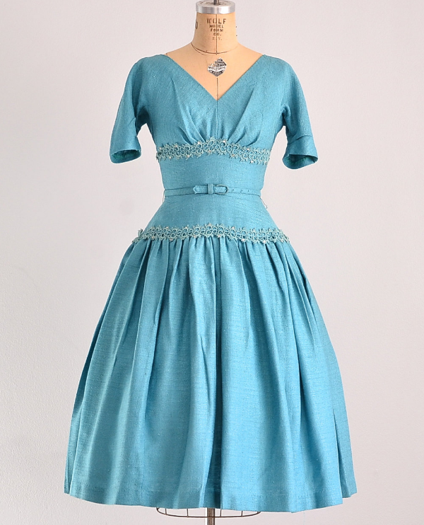 1950s Linen Party Dress #1950s #dress #50s #fashion #turquoise