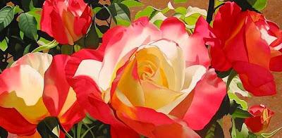Al Oleo Oleos De Bones Con Flores Rosas Pintadas A Mano Bones