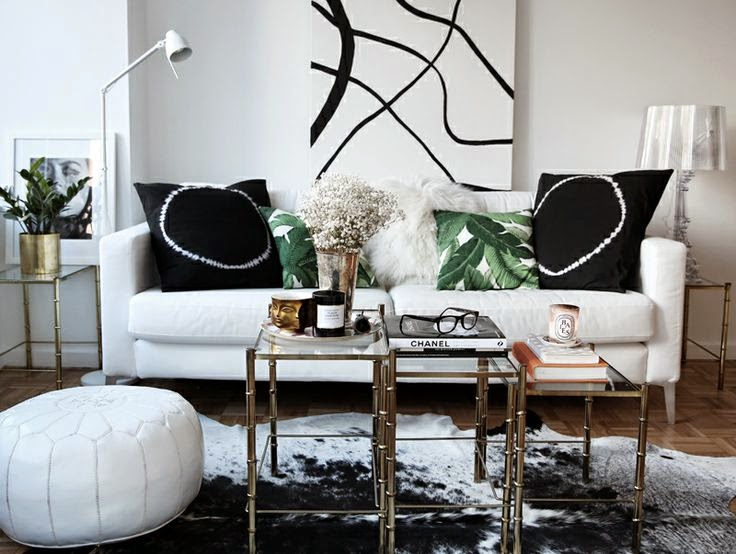 black and white modern living room abstract art