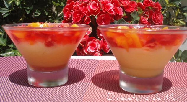 El recetario de mari natillas con gelatina de fresas y frutas - Postres con fresas naturales ...