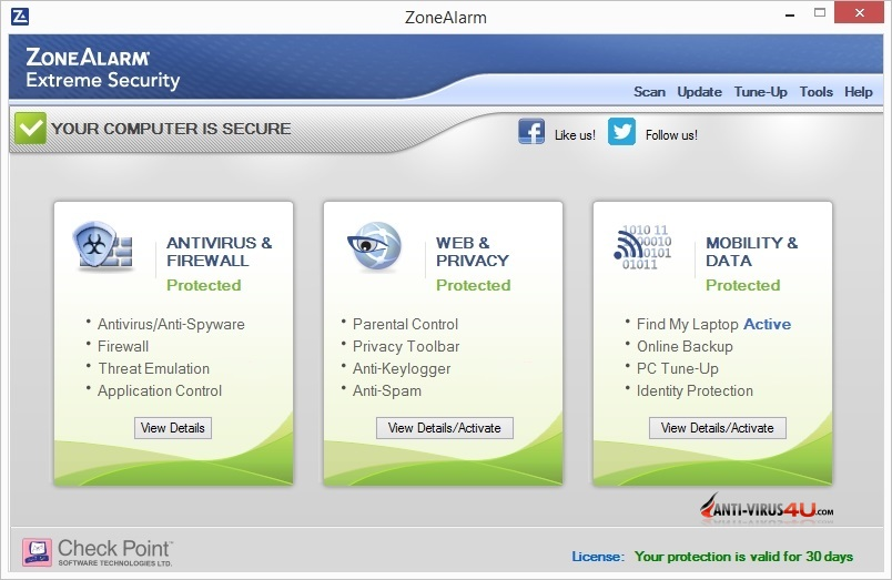 ZoneAlarm Extreme Security 2016 full screenshot