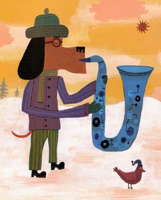 wintery dog by Calef Brown playing his saxophone