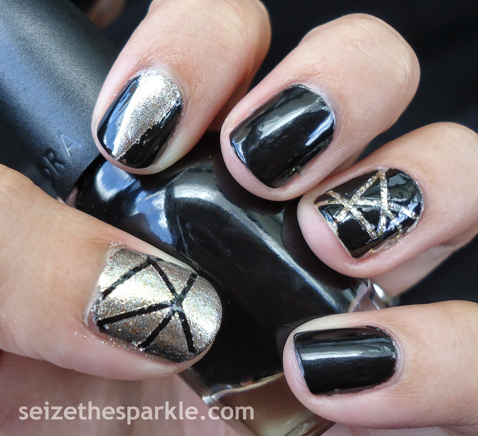 Black & Gold Geometric Manicure