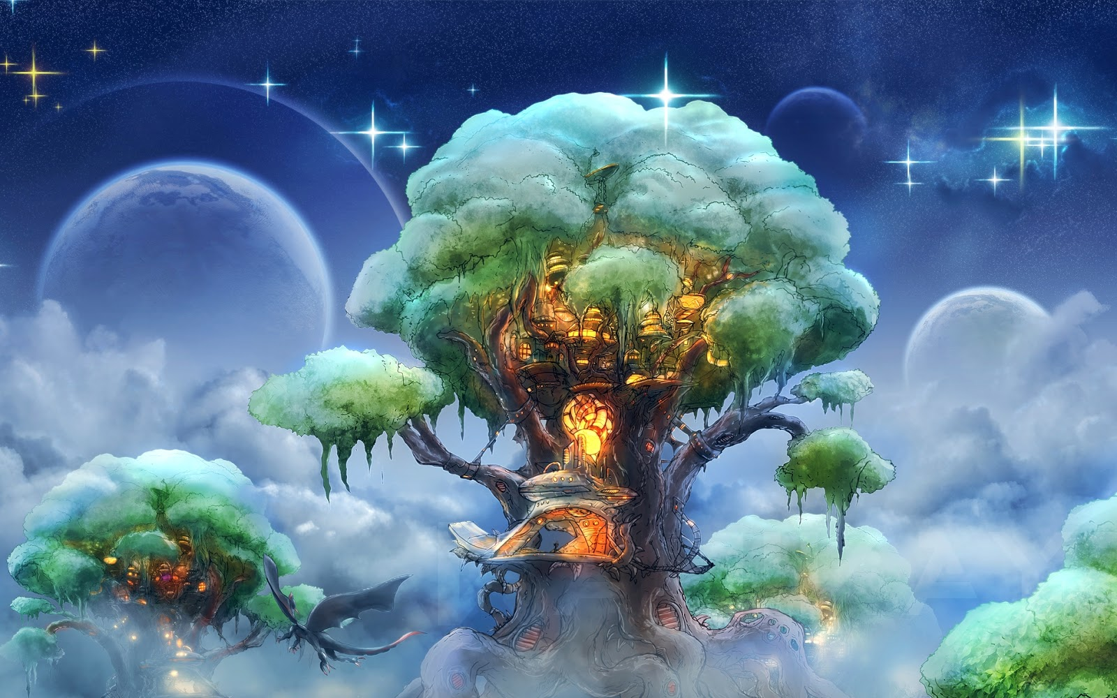 I love tree house fantasy forest tree houses wallpaper for Tree wallpaper for home