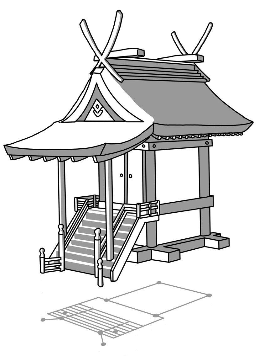 Shinto Shrine Drawing Kasuga-zukuri Named For
