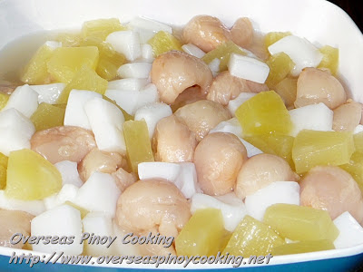 Almond Jelly, Lychee and Pineapple Dessert