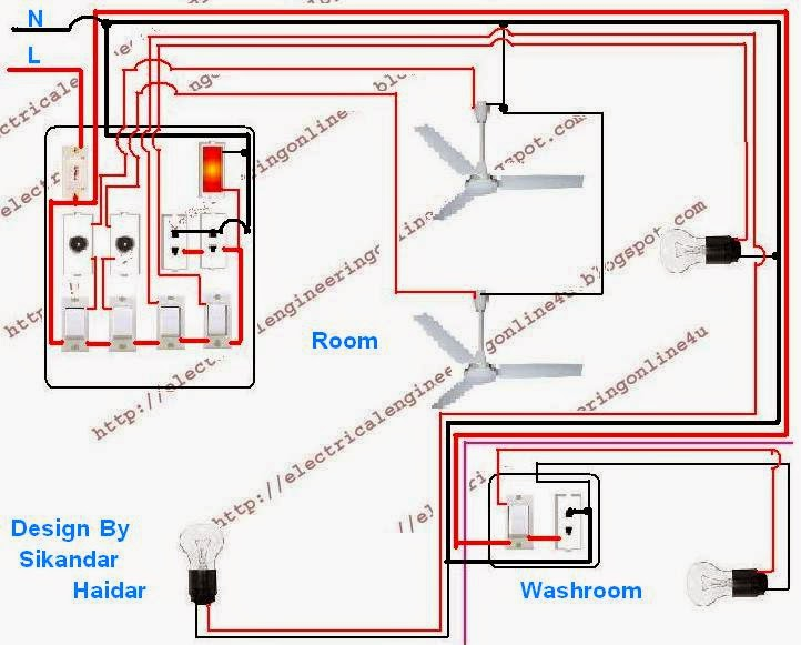 wire a room and washroom in home wiring electrical 4u