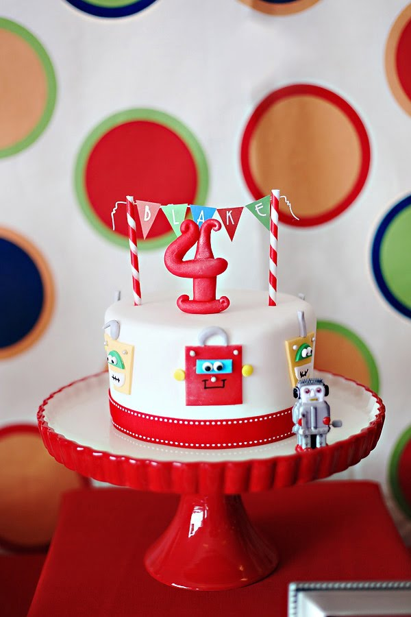 Blakes 4th Robot Birthday Party The Couture Cakery