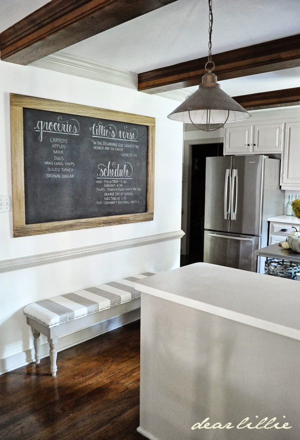 dear lillie an oversized chalkboard and bench in the kitchen. Black Bedroom Furniture Sets. Home Design Ideas