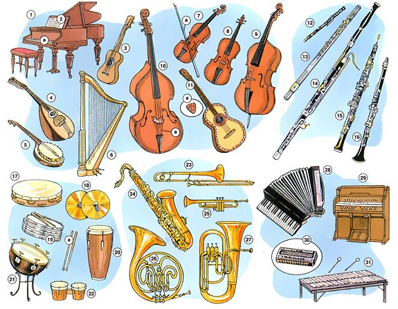 Music Musical Instruments And Their Names
