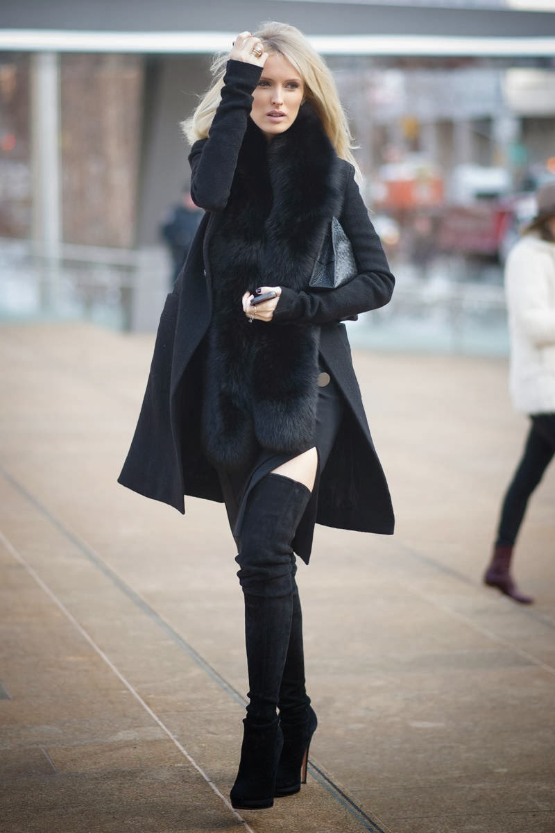 new york fashion week street style 2014 - kate davidson hudson - black coat, fur collar, thigh boots