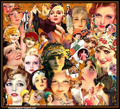 fondo vintage collage con chicas de los años veinte