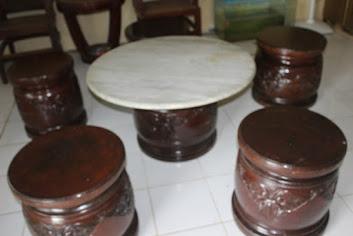 dijual Meja Marmer dan Kursi Jati  Kuno