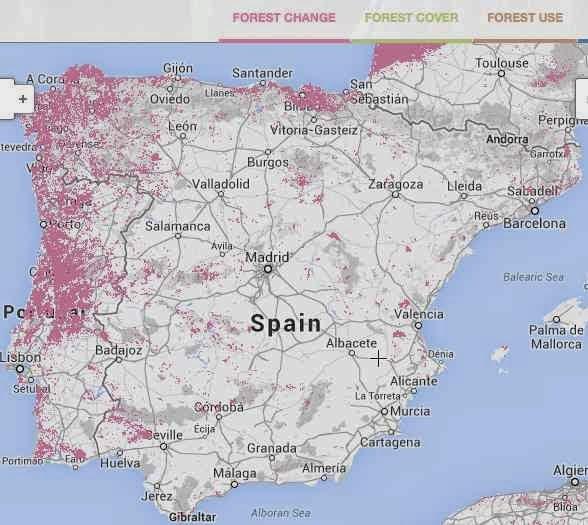 Mapa de la deforestación mundial