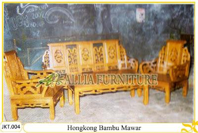 Set Kursi Tamu & Meja Ukiran Kayu Jati Hongkong Bambu Mawar