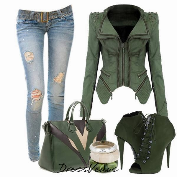 Ripped jeans, adorable jacket, handbag and high heel shoes for fall