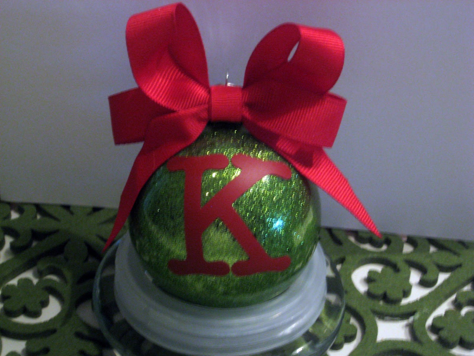 Monogrammed glitter in glass ornament mom real