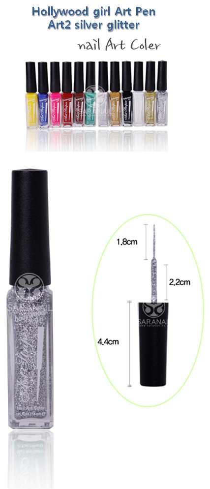 Hollywood girl nail polish art pen silver