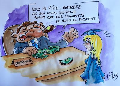 La Crise des Migrants, vu par les banquiers ou l'instigation d'une peur injustifiée... #migrants #banque #europe Guillaume Néel©