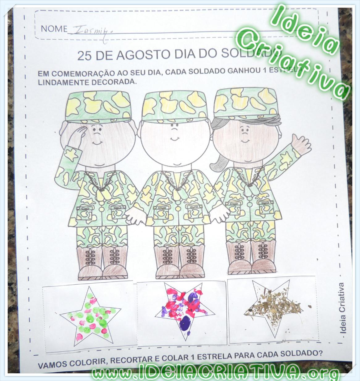 Atividade Dia do Soldado Recorte Colagem Decoração