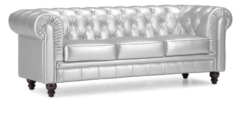 Hollywood Regency Furniture On A Budget #32: Hollywood Regency Style Furniture: Silver Tufted Sofa