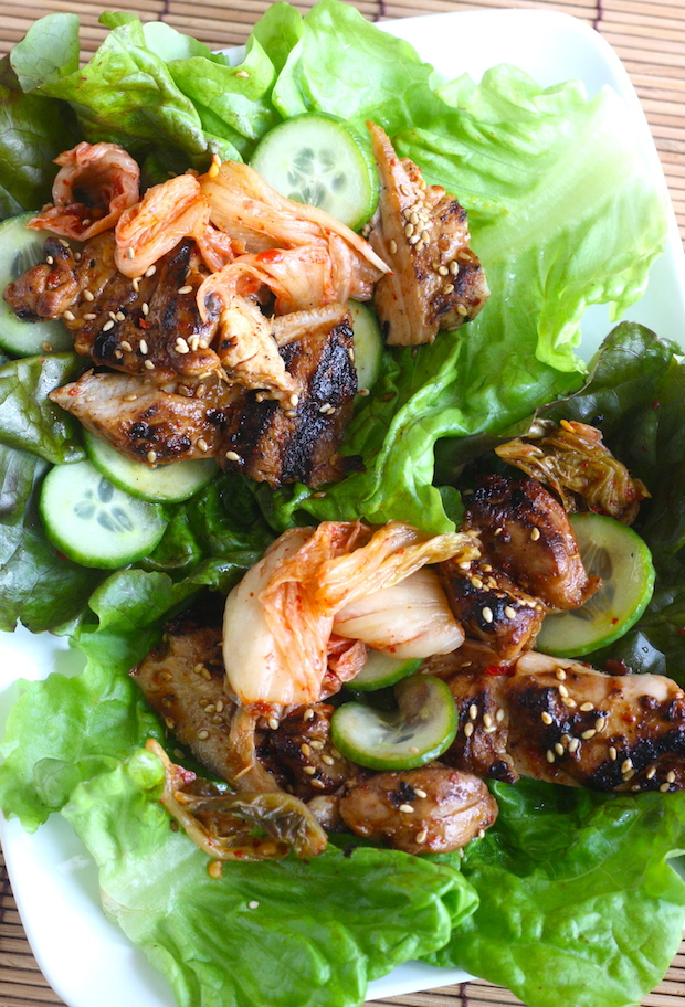 Korean BBQ Chicken Lettuce Wraps by SeasonWithSpice.com