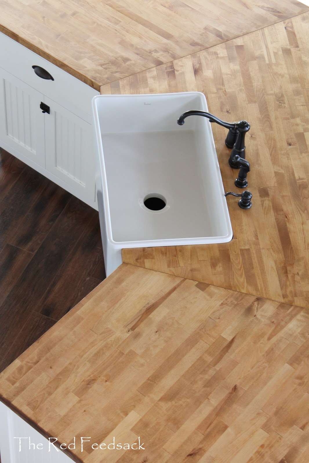 The red feedsack butcher block counter tops for How to install butcher block countertops
