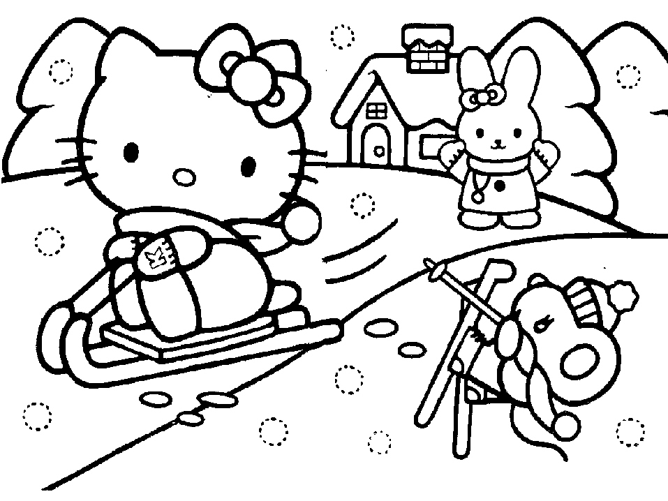 scene hello kitty coloring pages - photo#4