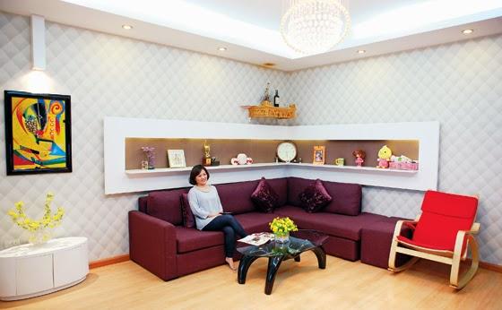 phòng khách chung cư mini trung văn ấm cúng rộng rãi
