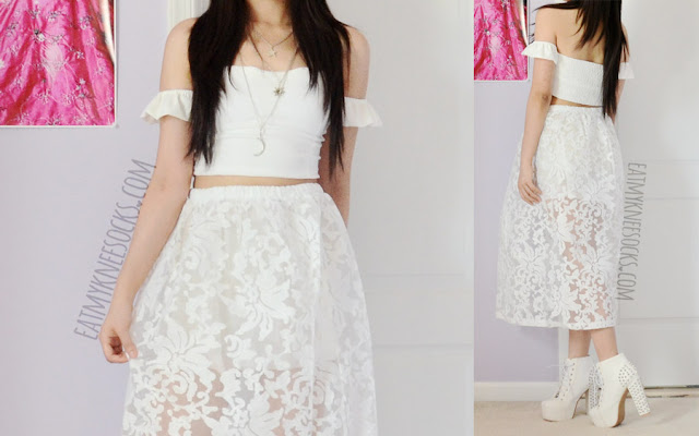 More modeled photos of this all-white spring/summer outfit, featuring the off-shoulder ruffled crop top and lace embroidered puffed maxi dress from SheIn.