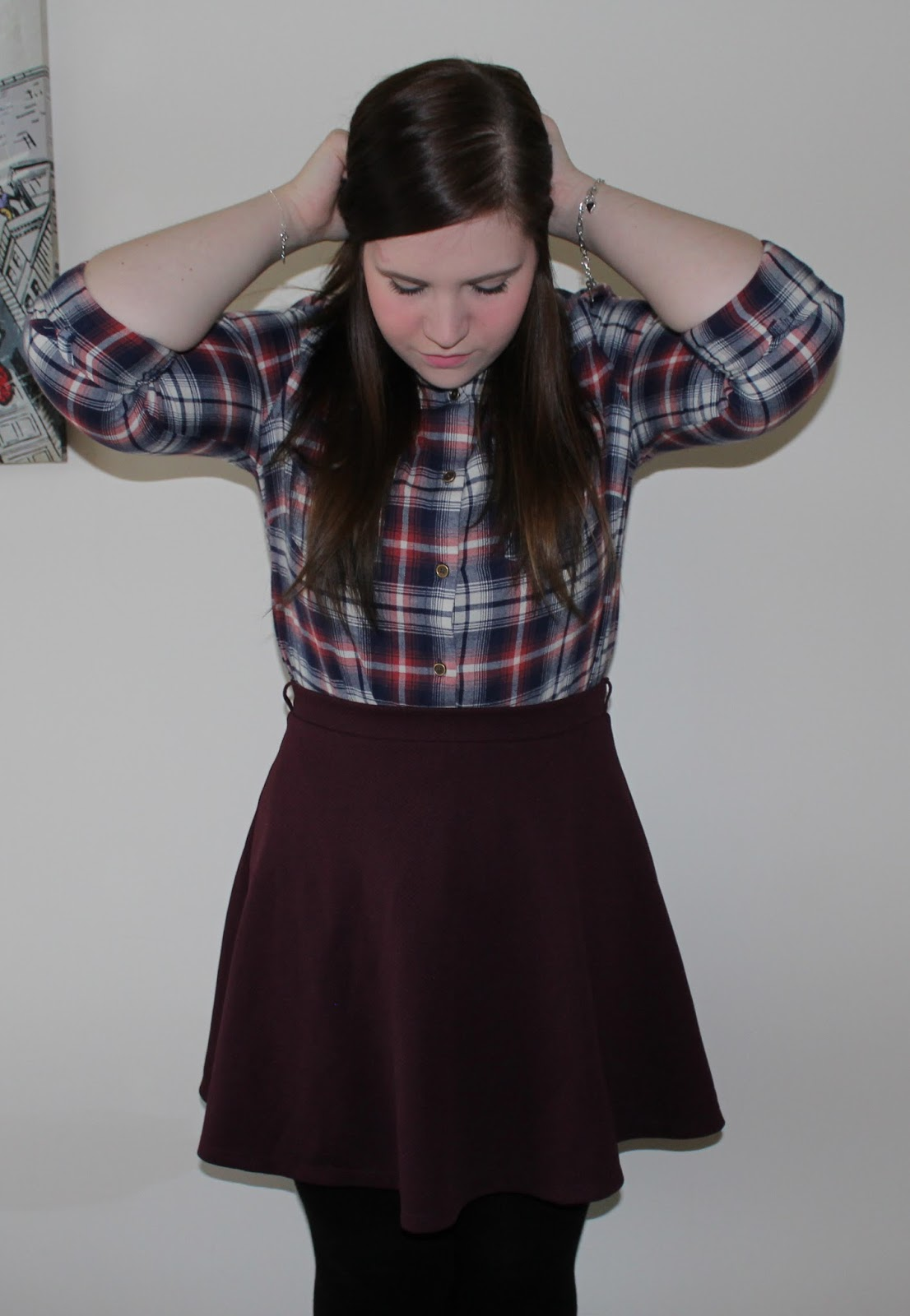 check shirt and skater skirt from new look