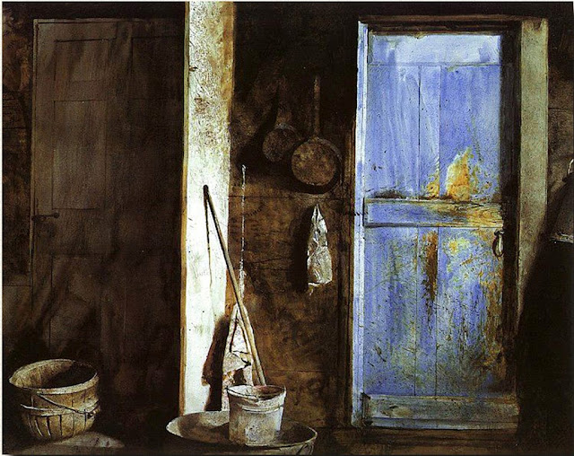 andrew wyeths the blue door essay Summary: for indeed she had a lover in the wind that blew, the shafts of sunlight and the runnels of rain, the air and water and fire that met in the upthrust earth that was her within her tower.