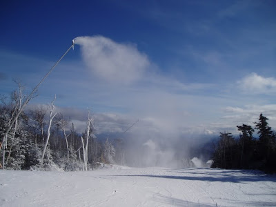 High efficiency snowmaking guns in operation at Gore last winter.  These guns operate at just 20-25% of the energy requirement of the guns they replace.  The 160 guns purchased at Gore last year save $150 thousand in electricity annually, paying for themselves in 4 years.  The Saratoga Skier and Hiker, first-hand accounts of adventures in the Adirondacks and beyond, and Gore Mountain ski blog.