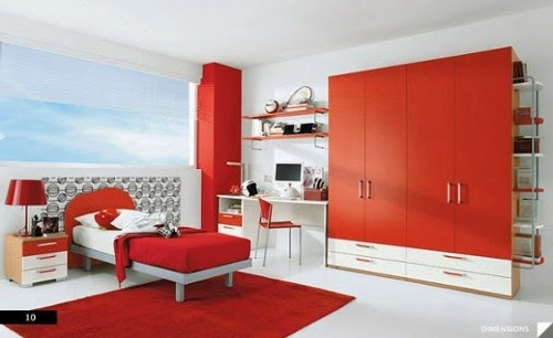 red kids bedroom interior design ideas